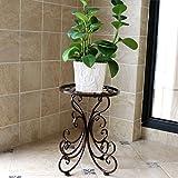 DJL Europäische Pastoralen Schmiedeeisen Blumenregal Einzelne Etage Boden Balkon Indoor Einfache Pflanze Stehen STS (Farbe : Black, Größe : L24CM*W25CM*H34CM)