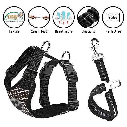 SlowTon Hundegeschirr mit Verbindungsgurt, multifunktional, verstellbar, doppeltes atmungsaktives Netzgewebe, Reisemeschirr mit Sicherheitsgurt im Auto für Hunde, Straßenfahrt, tägliche Spaziergänge