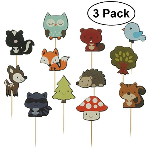 ounona Stricknadel Woodland Animal Cake Toppers Kuchendekoration Cupcake Deko Picks
