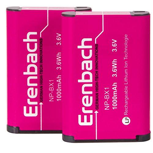 2er-SET Ersatzakkus für den Sony HDR-PJ410 Full HD Camcorder --- ERENBACH Markenakku für Sony NP-BX1 (starke 1000mAh)