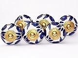 Lot de 6 boutons de placard ronds et fleurs-Blanc clair bleu foncé (garnitures en laiton Bouton de porte de placard en céramique pour tiroir poignée en porcelaine Style shabby chic
