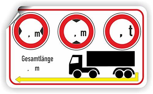LKW / Breite / Höhe / Gewicht / Länge / Piktogramm