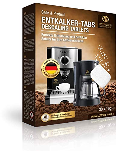 Coffeeano 30x Entkalkungstabletten XL für Kaffeevollautomaten und Kaffeemaschinen. Entkalkungs-Tabs kompatibel mit Jura, Siemens, Krups, Bosch, Miele, Melitta, WMF uvm.