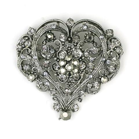 OMYGOD Crystal heart brooch - black diamond