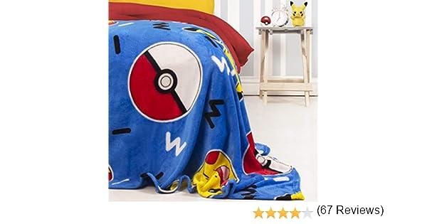 Character World Couverture Polaire Pok/émon Memphis Motif Pikachu Couverture Super Douce 100 x 150 cm