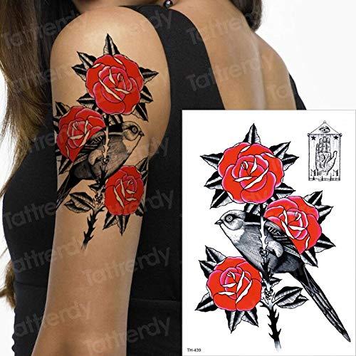 Tatuaggio adesivo donna tatuaggio temporaneo maniche tatuaggio acquerello rose rosse uccelli tatuaggi ragazze corpo mano tatoo trucco moda