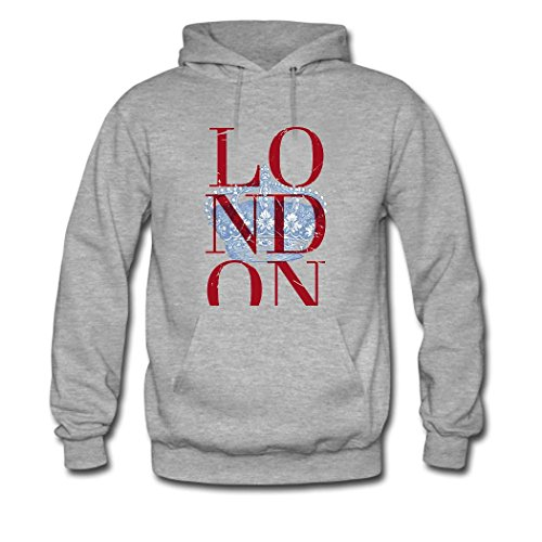 HKdiy London Custom Men's Printed Hoodie Gray-2