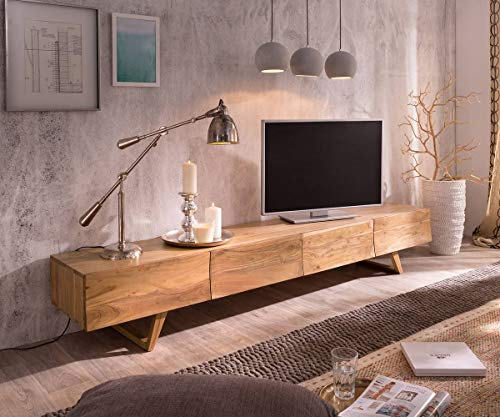Fernsehtisch Wyatt Akazie Natur 220 cm 4 Schubladen Design Lowboard