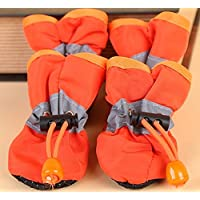 Doggie Style Store Orange Waterproof Dog Puppy Pet Rain Snow Boots (Pack of 4) Reflective Non Slip Booties Socks Shoes