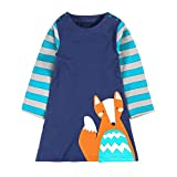 YoungSoul Mädchen Rundhalsausschnitt Tierdruck Baumwolle T-Shirt Kleid mit gestreiften Ärmeln Blau Fuchs 3T / 3-4 Jahren
