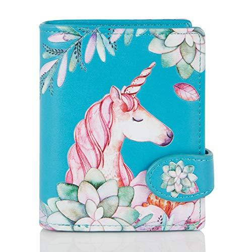 Shagwear Portemonnaie Geldbörse für Junge Damen - Mädchen Geldbeutel portmonaise Designs: (Einhorn/Unicorn Teal)