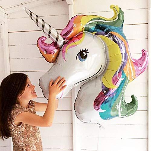 YKDY 2 Unidades de Globos de Papel de Aluminio con diseño de Unicornio arcoíris Gigante de 88 x 108 cm para decoración de Fiestas de cumpleaños de Caballos de Dibujos Animados