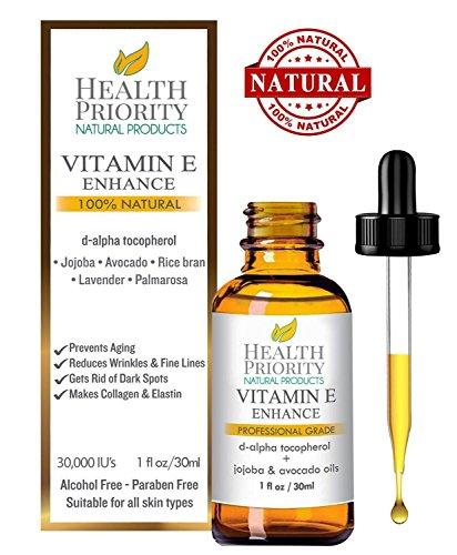 Aceite 100% natural y orgánico de vitamina E para la cara y la piel - 15,000/30,000 IU - Reduce las arrugas y aclara las manchas oscuras, dejando la piel más joven.