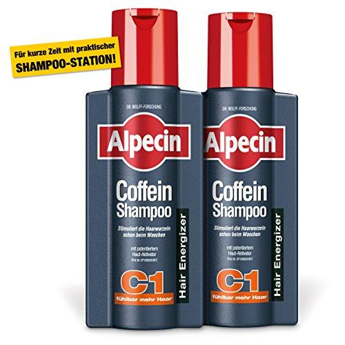 Alpecin Coffein-Shampoo C1, 2 x 250 ml - Beugt erblich bedingtem Haarausfall vor, für fühlbar mehr Haar