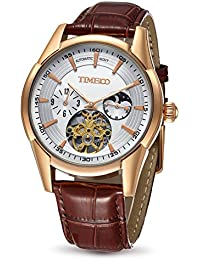 Time100 Skeleton Automatic Mechanical Genuine Leather Strap Men's Multifunction Watch Gold#W60025G.03A