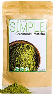 Ceremonial Grade Matcha Green Tea - 50g. + ELECTRIC WHISK + FREE MATCHA BOOK (Vegan, Vegetarian, Natural for Drinking, Smoothies, Baking and More) - By Plain&Simple