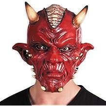 NET TOYS Máscara de Diablo con Cuernos | Rojo | Máscara demoníaca Demonio Unisex | Inmejorable