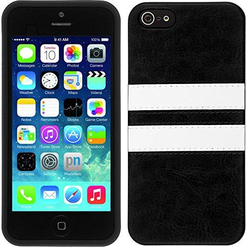 PhoneNatic Case für Apple iPhone SE Hülle Silikon pink Stripes Cover iPhone SE Tasche + 2 Schutzfolien Schwarz