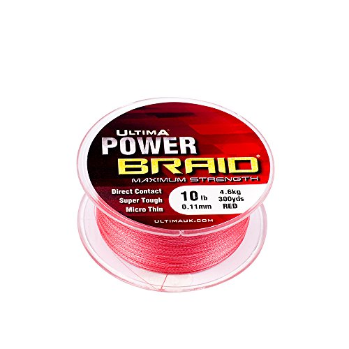 Ultima Herren Power Braid Hi Tec Micro Geflecht-275m Spule, Fluo Rot, 0.18mm-50.0lb/23.0kg