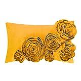 JWH Blumen Rosa 3D Kissenbezug In 100% Velvet Pattern Sechs Blumen Handgefertigte Stereo Kissenbezug...