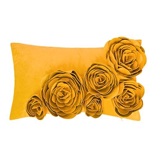 JWH Blumen Rosa 3D Kissenbezug In 100{251a4d51407cf83c1121036967c49b72d4aa96afa50284a56c974fc03b2285d1} Velvet Pattern Sechs Blumen Handgefertigte Stereo Kissenbezug Dekorative Kissen Für Stuhl Schlafsofa Schlafzimmer 30x50 CM Gelb