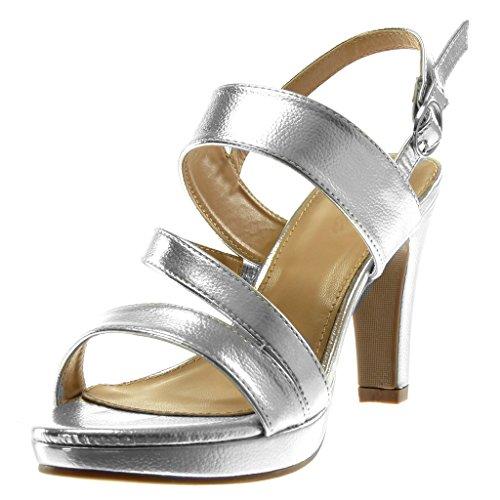 Angkorly Damen Schuhe Sandalen Mule - Plateauschuhe - knöchelriemen - String Tanga Blockabsatz High Heel 10 cm - Silber R12-10 T 38