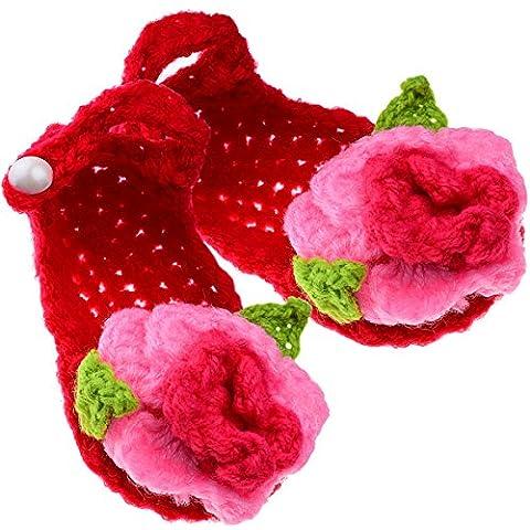 Tankerstreet bébé Tissage Crochet Chaussures Chaussons tricoté à la main Chaussettes Adorable Dessin animé Style de fleur, bébé fille en laine au crochet Chaussures à semelles souples Sandales pour naissance de douche Craft Cadeau fait à la main (Rouge)