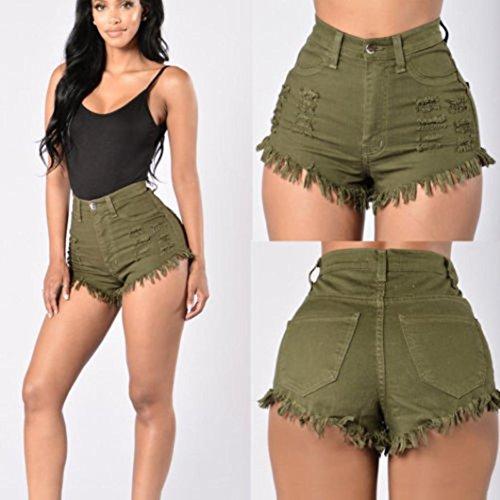 Vovotrade® Femmes été Taille Haute Rasé Denim Jeans Pantalons de Plage Chauds Shorts Jeans Mode Armée verte