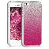 kwmobile Apple iPhone SE / 5 / 5S Hülle - Handyhülle für Apple iPhone SE / 5 / 5S - Handy Case in Pink Silber Transparent