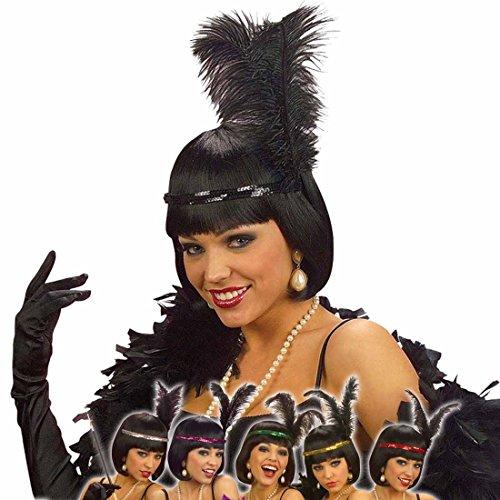Jahre Kostüm Flapper 20er Girl - Charleston Stirnreif schwarz mit Feder | 20er Jahre Federschmuck Kopfschmuck | Flapper Pailletten Haarreifen Can Can Girl | Burlesque Haarschmuck Vintage Kopfband Damen | Retro Kostüm Zubehör