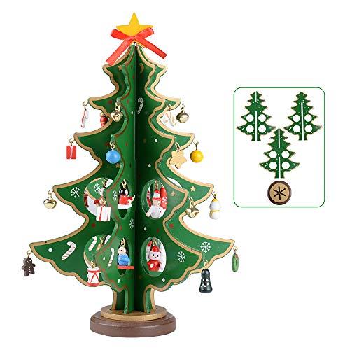 SERWOO (H: 28cm) Weihnachtsbaum Tannenbaum Klein mit Anhänger Grün Weihnachten Deko Holz Deko Klein Tischdeko Weihnachtsdeko Geschenke DIY Basteln