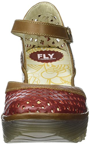 FLY London Yadu732, Sandales Compensées   Femme Rouge (Red/Camel 005)