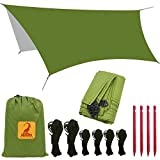 Toldo de Refugio Impermeable de 3x3m, Portátil, Para Camping y Protección Contra Todo Tipo de Clima Carpa Lluvia Mosca Tarp, camping Lona, Refugio Tarp, Verde