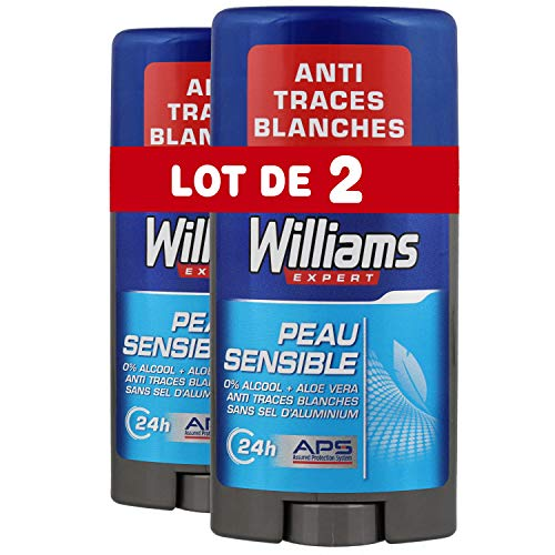 Williams Déodorant Homme Stick Peau Sensible 75ml - Lot de...