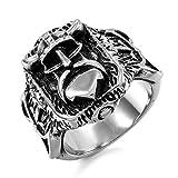 MunkiMix Acero Inoxidable Anillo Ring Negro El Tono De Plata Pirata La Flor De lis Talla Tamaño 35 Hombre