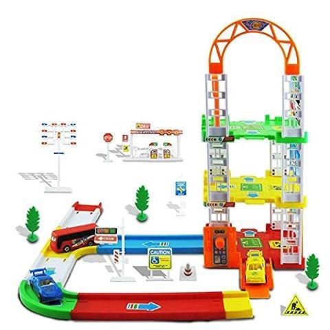 Moncare Assemble Pathway Car Parking Lot Model Vehicle Toy For