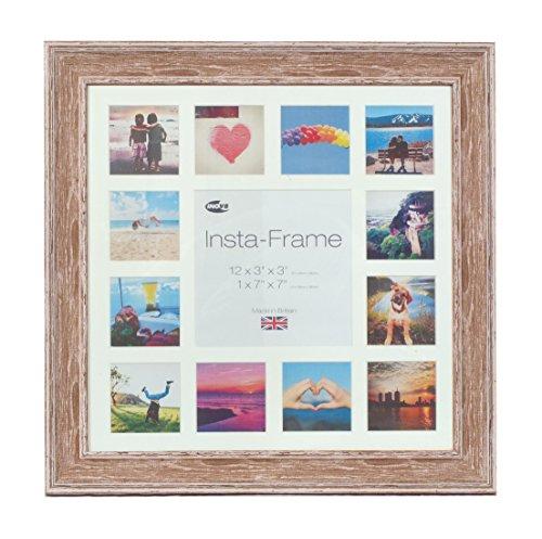 Inov8 16 x 16 Insta-Bilderrahmen, Fotorahmen, für 13 Fotos, Instagram, quadratisch, mit weißem Passepartout und weißem Einsatz waschen, Walnuss -