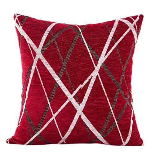Coussin en Peluche Canapé Housse de Coussin,Covermason Rayures de Chenille Forme géométrique Canapé-lit Home Decor Taie Housse de Coussin 42cm*42cm (Rouge)