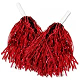 1 Paar Cheerleader Pom Poms Tanzwedel Puschel Tanzpuschel Wedel Pompoms in rot NEU -