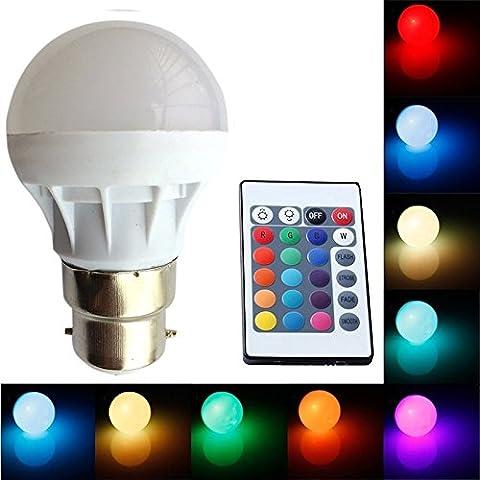 Caxmtu RGB LED Lamp B22 3W LED Bulb Soptlight 16 Color Change Lampara With IR Remote Energy Saving