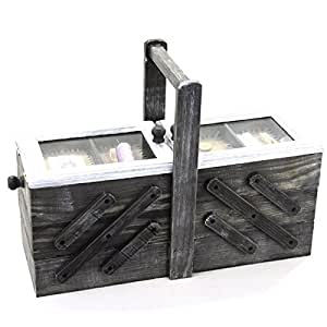 Boite couture en bois repliable compartiments amazon for Boite couture amazon