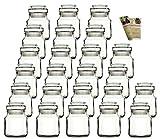 gouveo 24er Set 200 ml Stopfengläser Rondo Glas, mit Glasstopfen und Flaschendiscount-Rezeptbroschüre, Korkengläser mit Glaskorken, Gewürzgläser