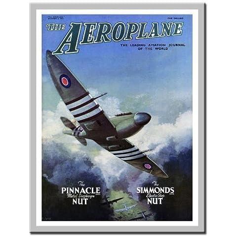 Spitfire aereo Magazine Cover Stampa 1949Lavagnetta magnetica Argento con cornice–41x 31cms (circa 40,6x 30,5cm)