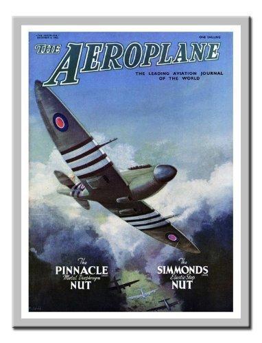 1949-magazin (Spitfire Flugzeug Magazin Cover Print 1949Memo Board, Magnet Silber gerahmt–41x 31cms (ca. 40,6x 30,5cm))