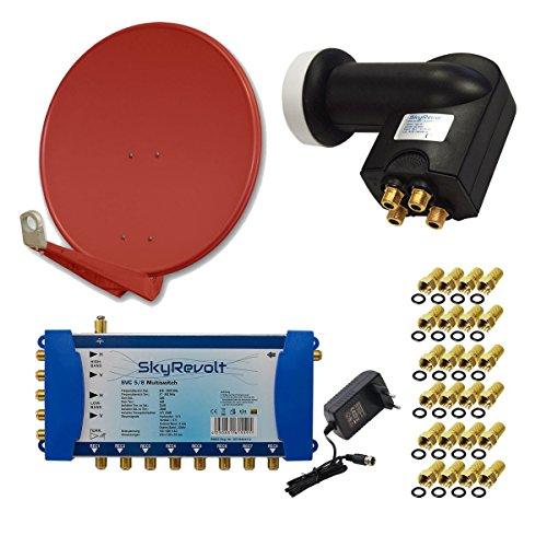 PremiumX DELUXE100 Antenne 100 cm ALU Ziegelrot + SkyRevolt Multischalter SV 5/8 Multiswitch Sat Verteiler + SkyRevolt Quattro LNB HDTV + 24x F-Stecker Digital HD SAT Anlage