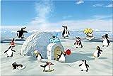 Blechschild Eis Party, Geschenk Lustig Geburtstag Kinder Dekoschild Wandschild Metallschild inkl. Magnete Pinguine, Blau, 40x60 cm