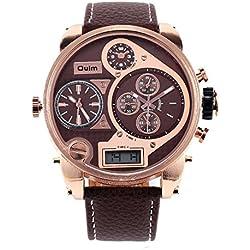 Herren Leder Armband Quarz Uhr Zifferblatt Student Mode Uhr
