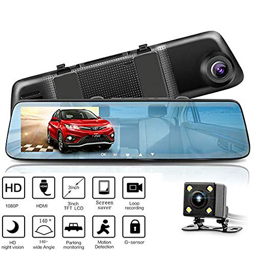 QUARK Mirror Dash Cam 5 Inch Touch Screen, 1080P Full HD Front Car Camera Video Recorder Monitor G-Sensor Loop Recording Reverse Camera