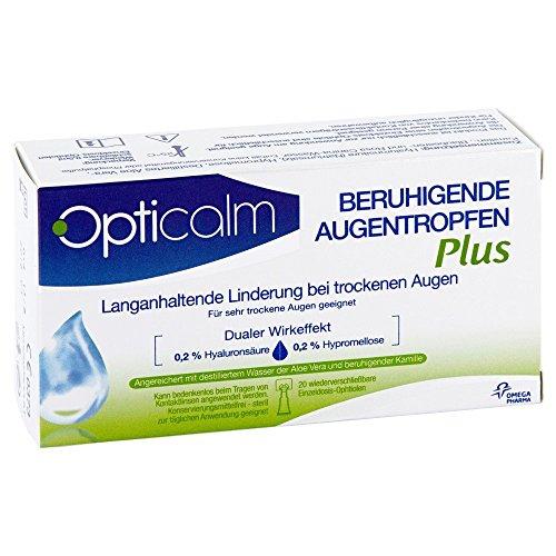 Opticalm Augentropfen Plus, 20 x 0.5 ml, 1er Pack (1 x 5 ml) (Augentropfen Schmerzen)