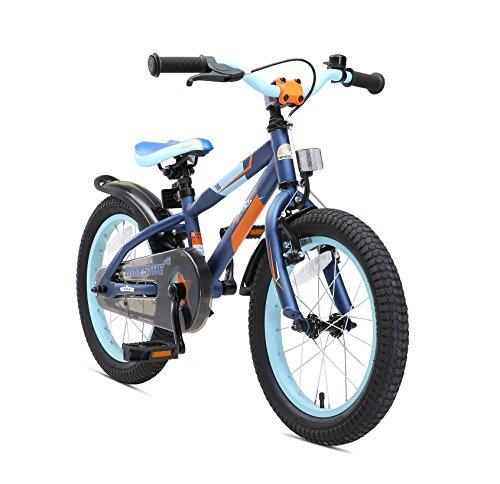 BIKESTAR Bicicleta infantil para niños y niñas bicicleta de montaña | Bici 16 pulgadas | Color Azul | Frenos de tiro lateral y freno de contrapedal | A partir de 4 años | 16' Edición Mountainbike 2018